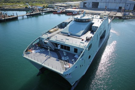 Launch of the first 72m High Speed Support Vessel for the Royal Navy of Oman at Austal Australia's shipyard in Henderson, WA