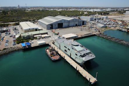 Austal Australia's shipyard in Henderson, WA with the first 72m High Speed Support Vessel for the Royal Navy of Oman alongside