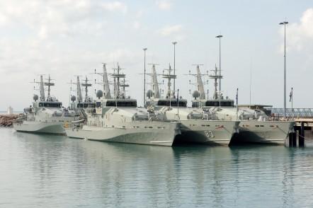Six Armidale Class Patrol Boats at Austal Darwin's service facility