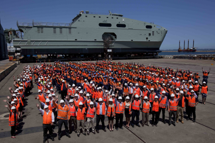 Austal Australia staff with the first 72m High Speed Support Vessel for the Royal Navy of Oman in Henderson, WA