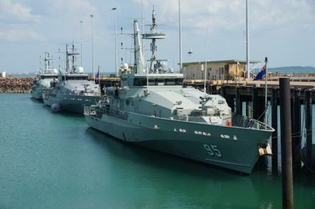Three Armidale Class Patrol Boats alongside at Austal Darwin's service facility