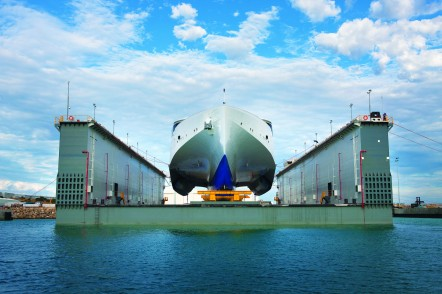 102m next generation trimaran vehicle passenger ferry in dock