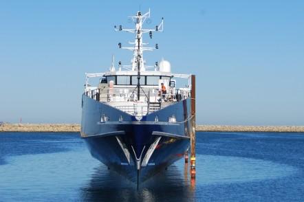 Launch of Cape Class Patrol Boat at Austal Australia's shipyard in Henderson, WA