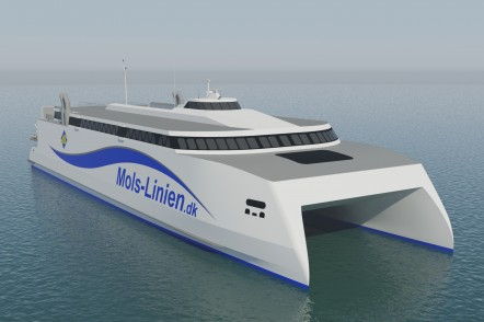 Render of the 109m Vehicle Passenger Ferry for Mols Linien of Denmark