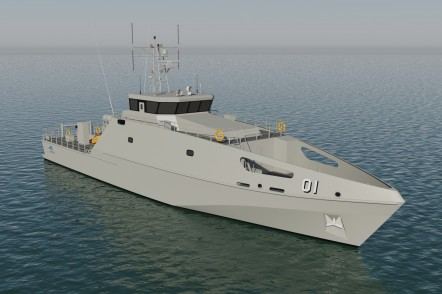 Render of the 39.5m Pacific Patrol Boat Replacement